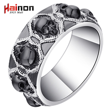 Newest Design men's black Skull Ring Rhodium Plated Women's party finger Ring Punk Jewelry Size 5-12(China)