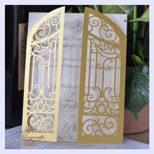 MR007 Unique Design Door Carved Pattern Wedding Supplies Laser Cut Invitation Card
