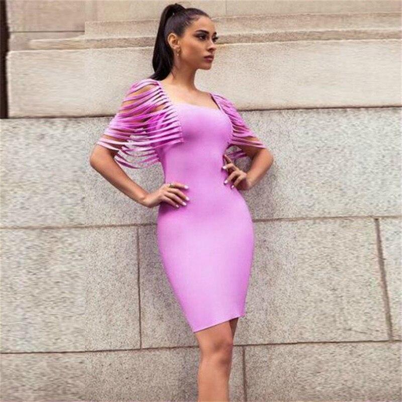 Leger Babe Chic Summer Women Fringe Shoulder Square Collar Elegant Celebrity  Bandage Dress Party Mini Tassel Dresses Hot Sale HL 6bdb910752c1