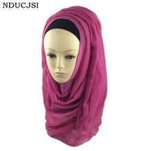 Female Hijabs Chiffon Shawls Femme Muslim Hijab Islamic Women Jersey Scarf Plain Soft Voile Wraps Scarves 2016 20 Colors M054(China)