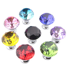 8 Pcs Diamond Crystal Glass Door Knob Drawer Kitchen Cupboard Cabinet Furniture Handle Home CLH@8(China)