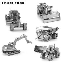 Finger Rock DIY Metal 3D Puzzles CAT Engineering Vehicle Excavator Tractor Truck Educational Model Creative Jigsaws Puzzles Gift