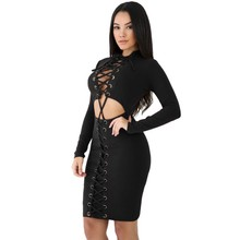 Black red lace-up corset cut out sexy long sleeve club dress women autumn clothes 2017 bodycon dresses short mini M22877