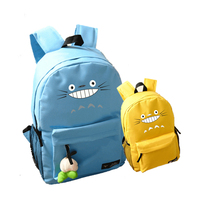 2017 New Japanese Anime Cute Tonari no Totoro Emoji Printing backpack Candy Color Canvas Backpacks for Teenage Girls Laptop Bags(China)