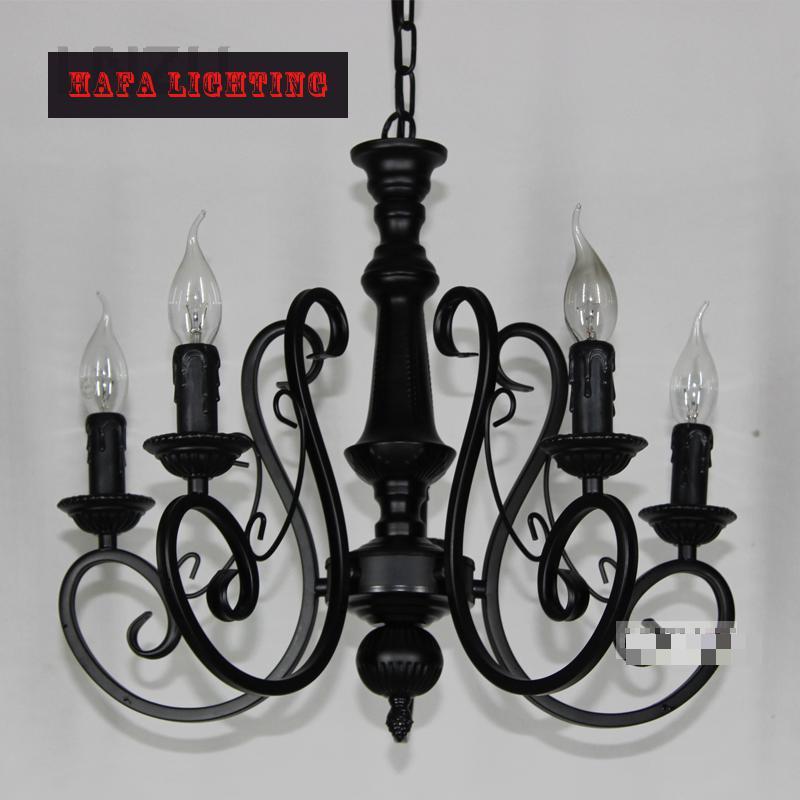 5/6heads Black Iron chandelier Candle Lights Lighting Fixtures Iron  Vintage Chandelier Home Lighting bedroom iron light<br><br>Aliexpress