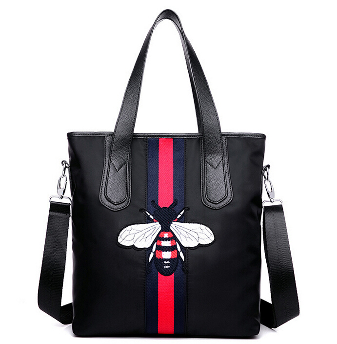 KVKY Fashion Ladys Waterproof PU Leather Top-Handle Casual Tote Women Hand embroidery Bee Shoulder Crossbody Nylon Black Bag<br><br>Aliexpress