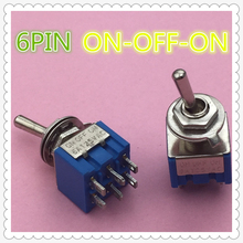 2pcs/lot Mini MTS-203 6-Pin G104 ON-OFF-ON 6A 250V Toggle Switches Good Quality Free Shipping(China)