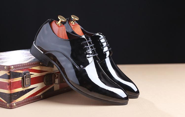 NPEZKGC Big Size 38-48 Men Shoes PU Leather Casual Shoes Fashion Lace Up Oxfrds Shoes Breathable Patent Leather Men Flat Shoes 6