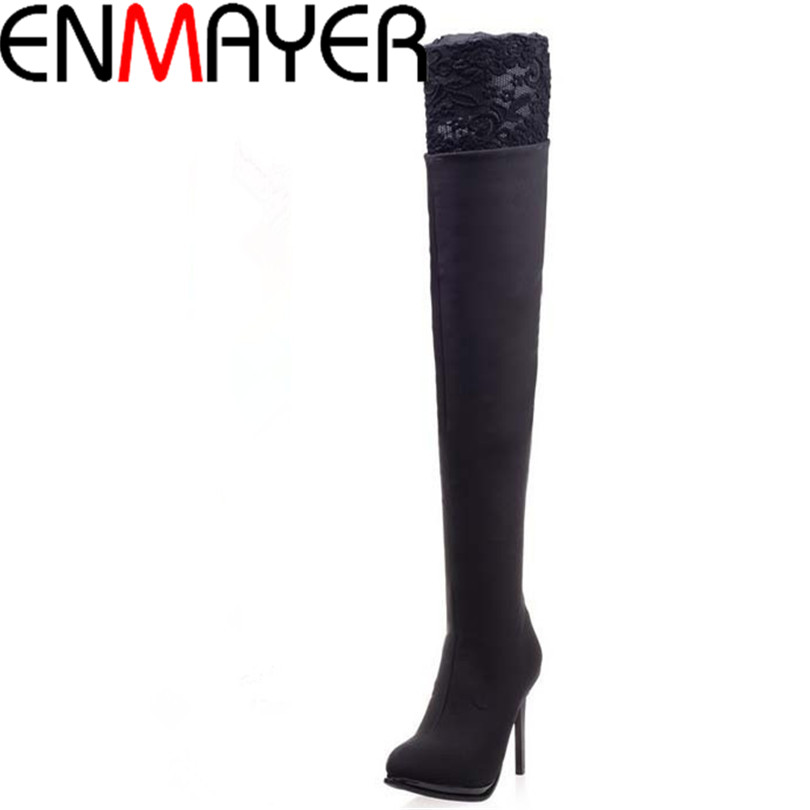 ENMAYER Trend Hot New Boots Shoes Sexy Lace Tip Long Boots for Women Black Pumps Over-the-Knee Boots New Winter Platform Boots<br><br>Aliexpress