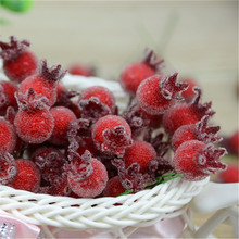 10PCS  Mini Fake Glass Pomegranate Fruit Small Berries Artificial Flowers red cherry Stamen  Wedding Christmas Decorative