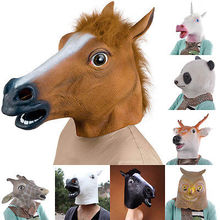 Horse Unicorn Animal Head Mask Creepy Halloween Costume Theater Prop Novelty Party Masks(China)