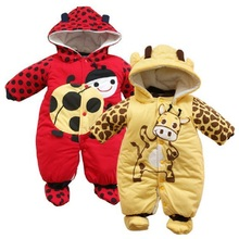 Hooyi Ladybug Milk Hoodies Jumpsuits Baby Boy Romper Fleece Newborn Winter Outfits Girls Coat Infant Clothes Overall Babies Shoe(China)