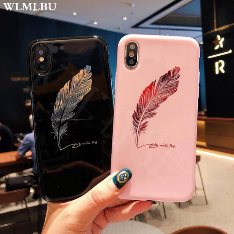WLMLBU Silicone Feather Case For iPhone 7 8 Plus XS Max XR Xs Letter Phone Cases For iPhone X 8 7 6 6S Plus Soft TPU Back Cover(China)