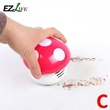EZLIFE Hot Ritzy Cute Mini Mushroom Corner Desk Table Dust Vacuum Cleaner Sweeper Unique small vacuum hand held sweeper HD0246