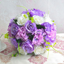 32CM Quality High artificial purple silk real rouch rose hydrangea flower ball centerpieces wedding decoration Color Customise