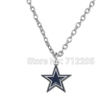 50pcs a lot single-sided enamel Dallas Cowboys sports star football pendant sports necklaces(China)