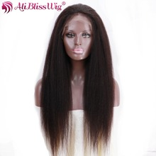AliBlissWig Silk Top Lace Front Wig Silk Base Human Hair Wigs Invisible Parting Kinky Straight Brazilian Remy Hair Natural Color(China)