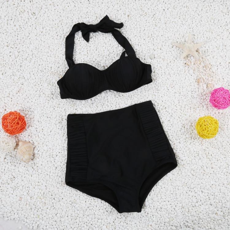 2017 Newest Design Sexy High Waist Solid Wrinkle Swimsuit Women bandage Bikini Padded Bathing Suit Push Up Bandeau Swimwear LC98<br><br>Aliexpress
