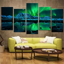 5 Panels Landscape Green Aurora Canvas Print Painting Modern Northern Light Wall Art Picture HD Print For Home Decor(China)