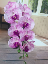 9 Heads 96cm artificial Phalaenopsis flower source material real touch soft high quality orchid purple color green color(China)