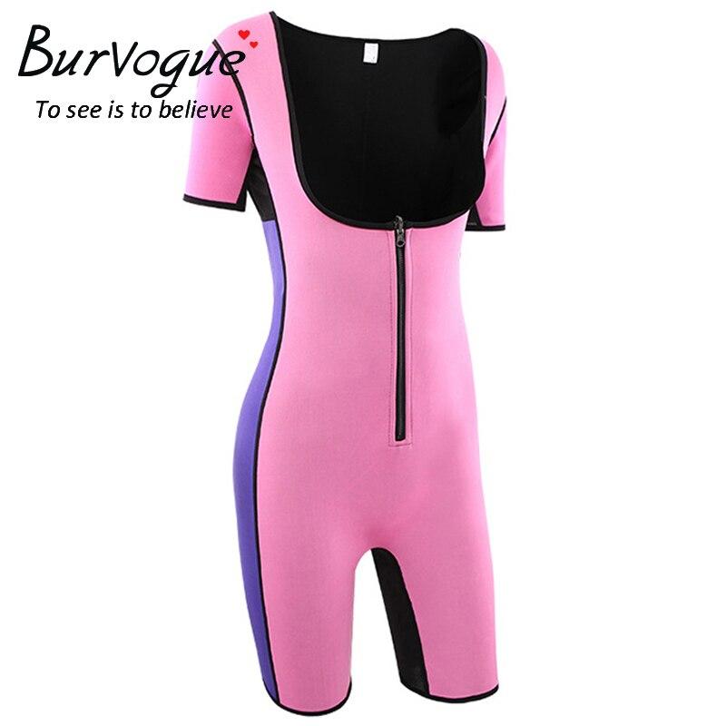 Neoprene Sauna Suit Sexy Bodysuit Leg Fajas Waist Trainer Shapewear Zipper Plus Size