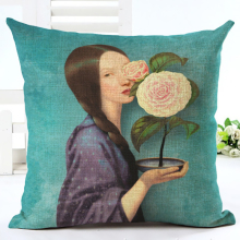 New Arrive Hot Selling Classical Flower Girl Printing Linen Cotton Cushion Cover Throw Pillow Sofa Pillow Cojines