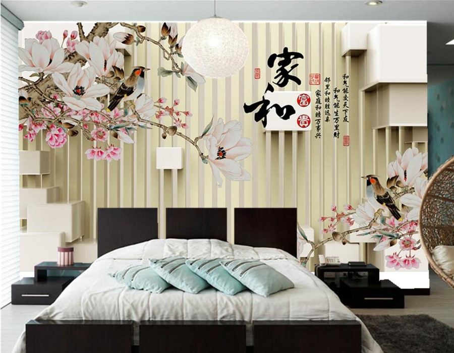 Custom large Chinese style murals,3 d home and prosperous magnolia wallpaper,living room tv sofa wall bedroom papel de parede <br>
