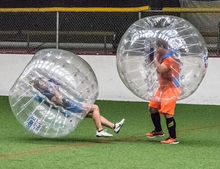 Free shipping!Half color 1.2m 0.7mm TPU giant inflatable balls,big inflatable balls,the soccer bubble on sale(China)