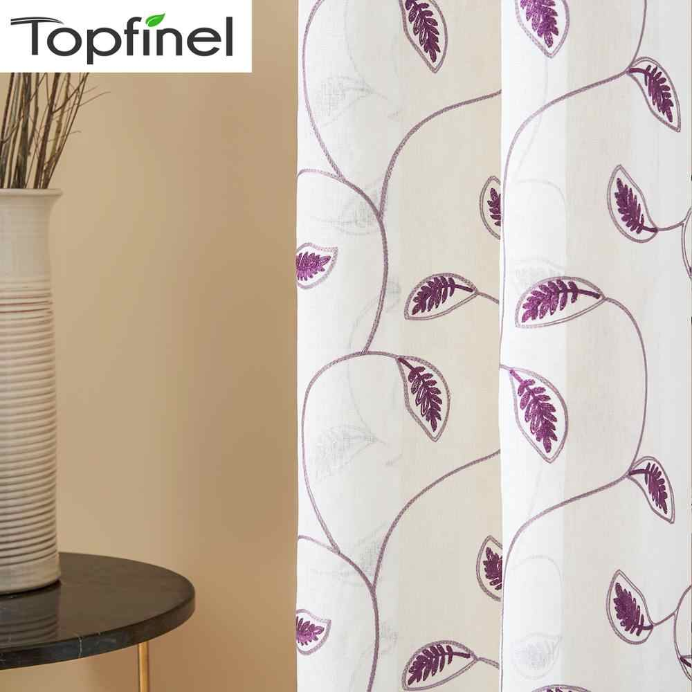 Topfinel Leaves Pattern Embroidered White Sheer Curtains for Living Room Bedroom Tulle Curtains for Kitchen Window Treatments