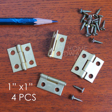"1""(28mm) mini brass hinge butt hinges box DIY gold plated wood crafts accessories 4 pcs(China)"
