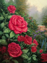 A Perfect Red Rose Thomas Kinkade Oil Painting Modern Wall Painting Canvas Wall Art Wall Pictures For Living Room Print Painting(China)