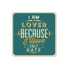 4Pcs/Lot Customized I am a Lover Creative Sign Cork Wood Beverage Coaster Table Drink Tea Coffe Cup Mat Home Decor