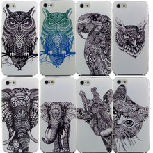 Vtg Style Head Case Aztec Elephant Giraffe Animal Hand Drawn Animal Back Case Cover For iPhone 4 4S 5 5S SE