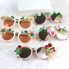 2016 fashion rose flower petal ceramic cat's eye sunglasses crystal circular Large frame sunglasses women jewelry