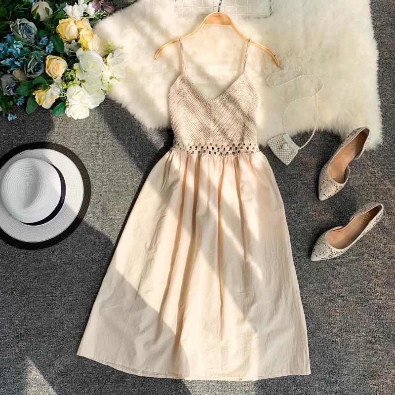 19 new fashion women's dresses Fresh openwork knit stitching V-neck strap high waist dress 19