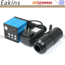 Blue High Speed Industry 14MP 720P HD CCD Microscope Camera HDMI USB outputs with TF Card Video Recorder++100X C-Mount Lens