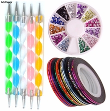 AddFavor 10pcs Nail Rhinestones Rolls Dotting Pen Manicure Beauty Kit 3D Glitter Crystal Decoration Equipment Nail Art Tools Set