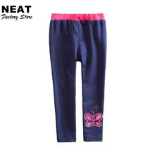 Retail Neat Girls Pants Baby Trousers Children Clothing Legging Butterfly Pure Leggings Warm Girl Leggings F5510 Mix(China)
