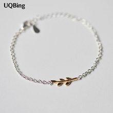 Free Shipping Pure 925 Sterling Silver Bracelets With Gold-color Leaves Bracelets Jewelry Srebrna bransoletka pulsera de plata