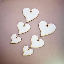(100pcs/lot)Wooden Wood Love Heart Wedding Card Wish Tree Gift Tags Jute String One hole Unfinished Wooden Heart Key Chain heart