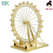 2016 New SKBritish architecture London Eye golden ICONX METAL EARTH 3D Metal model Etching puzzle brass like NEW Challenge DIY