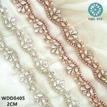 (10 YARDS) Wholesale hand sewing bridal beaded rose gold crystal rhinestone  pearl applique trim for wedding dress sash WDD0405 abf7b399a51f