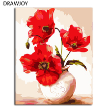Hot Selling Frameless Picture Painting By Numbers Wall Art DIY Digital Canvas Oil Painting Handwork Gifts Of Flower 40*50cm G414(China)