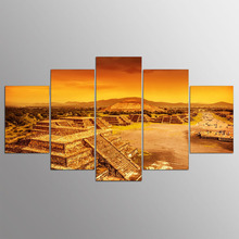 5 Panels Canvas Print Wall Art Picture Home Decor Pyramid Moseque 3D Railway Volleyball Snow Mountain Super Car Aug083