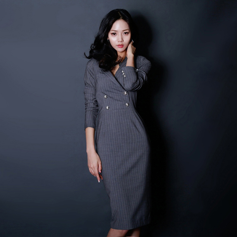 Office Ladies Striped Women Dress Notched Collar Full Sleeve Bodycon Female Mid-length Dress 2018 Elegant Autumn Vestidos femme