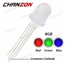 50pcs 10mm RGB Common Cathode Diffused Tricolor 20mA 2V Red Green Blue 4Pin 10 mm Round LED Light-Emitting Diode Bulb Wide Angle