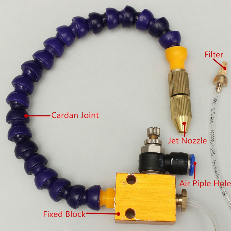 Cooling Sprayer Mist Coolant Lubrication Spray System 5mm Air Pipe CNC Lathe Milling Drill