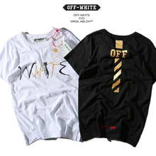 OFF WHITETROND LIFE T-Shirts Men Lover Box Logo Classic Golden O Neck Pen Fashion Brand Clothing OFF WHITE T-Shirt Men 2017