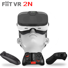 Fiit VR 2N Leather Virtual Reality Smartphone 3D Glasses Google Cardboard Video Game Model Headset For 4.0-6.0 Phone+Controller