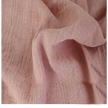 Soft Linen Cotton material rubber pink crincle wrinkle tissue scarves dress double layer linen cotton crepe fabric By meter